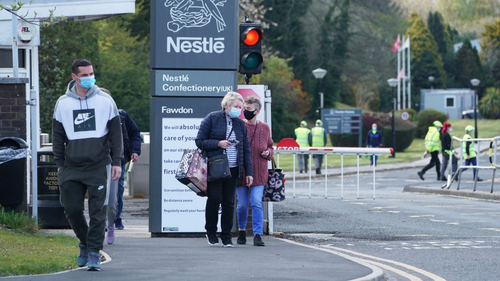 People leaving the Nestle plant at Fawdon near Newcastle on Wednesday