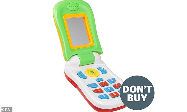 Zabawkowy telefon sprzedawany na AliExpress, jedna z zabawek, przed którymi firma ostrzegała rodziców po dochodzeniu, które wykazało, że ponad 40% zakupionych w sklepach internetowych nie przeszło testów bezpieczeństwa.