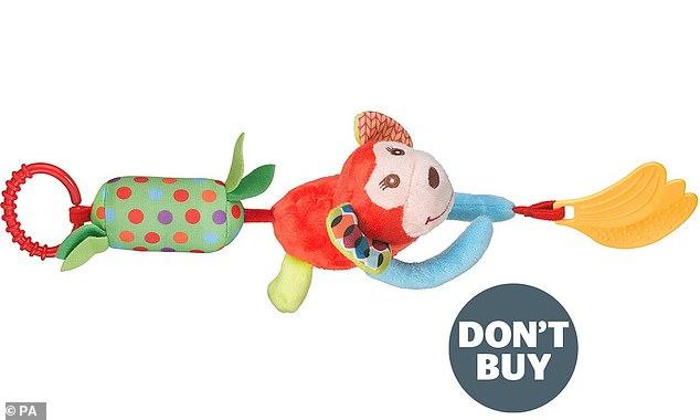 Małpa zwisająca z grzechotki Wish, jednej z zabawek, przed którymi firma ostrzegała rodziców