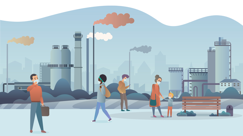 people wearing protective face masks and walking near factory pipes city with smoke on background